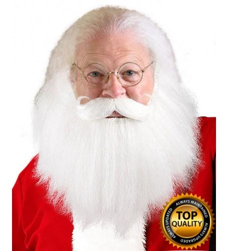 Adult Sanda Claus White Beard and Moustache Set Deluxe HX-013