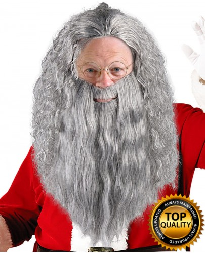 Santa Claus Grey Wig and Beard Set Deluxe HX-020