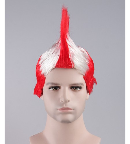 Red / White Mohawk Wig